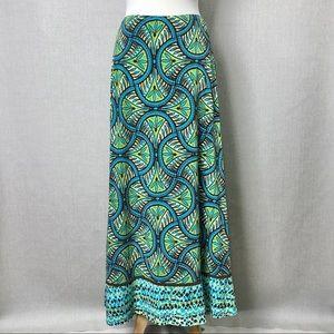 BISOU BISOU Geometric Tropical Print Maxi Skirt